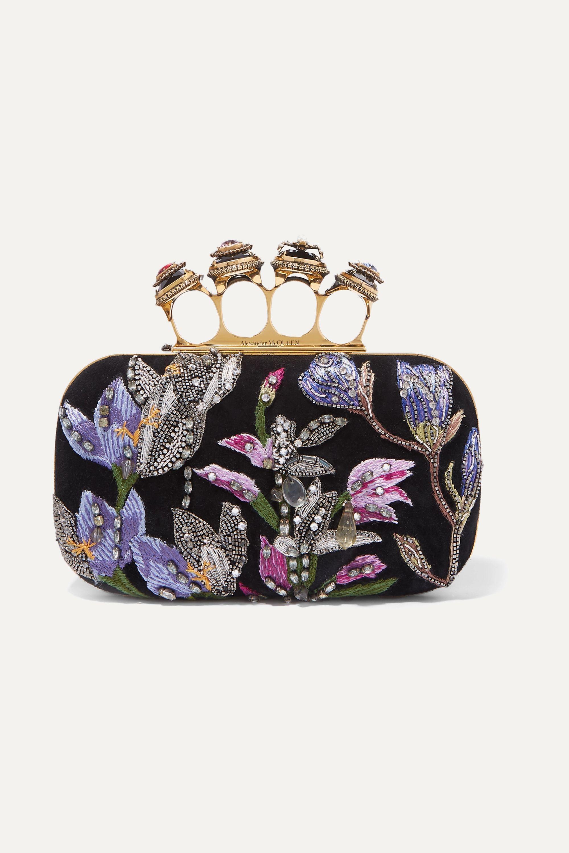 Alexander McQueen Knuckle embellished embroidered suede clutch