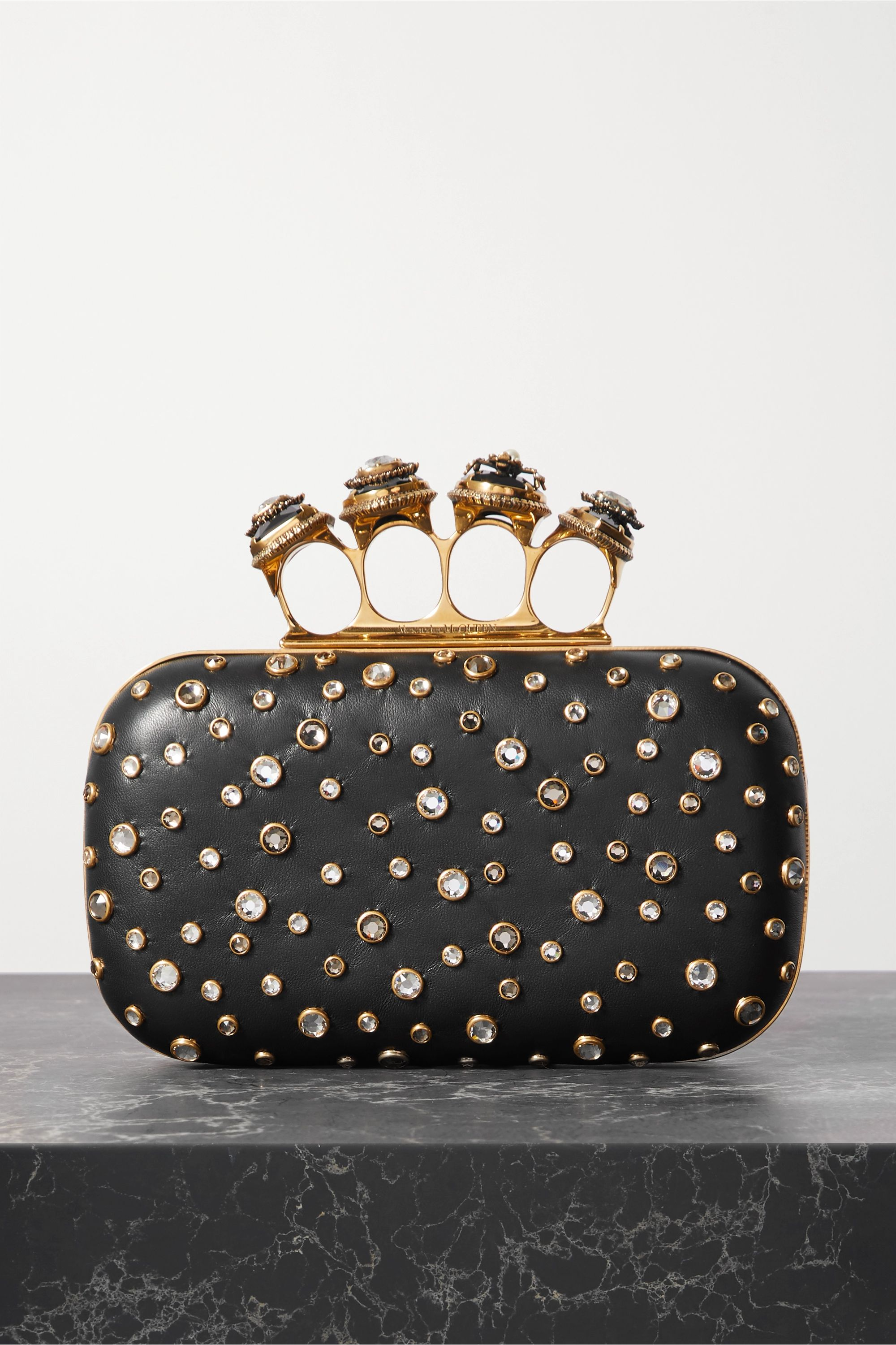 Alexander McQueen Spider Four-Ring crystal-embellished leather clutch