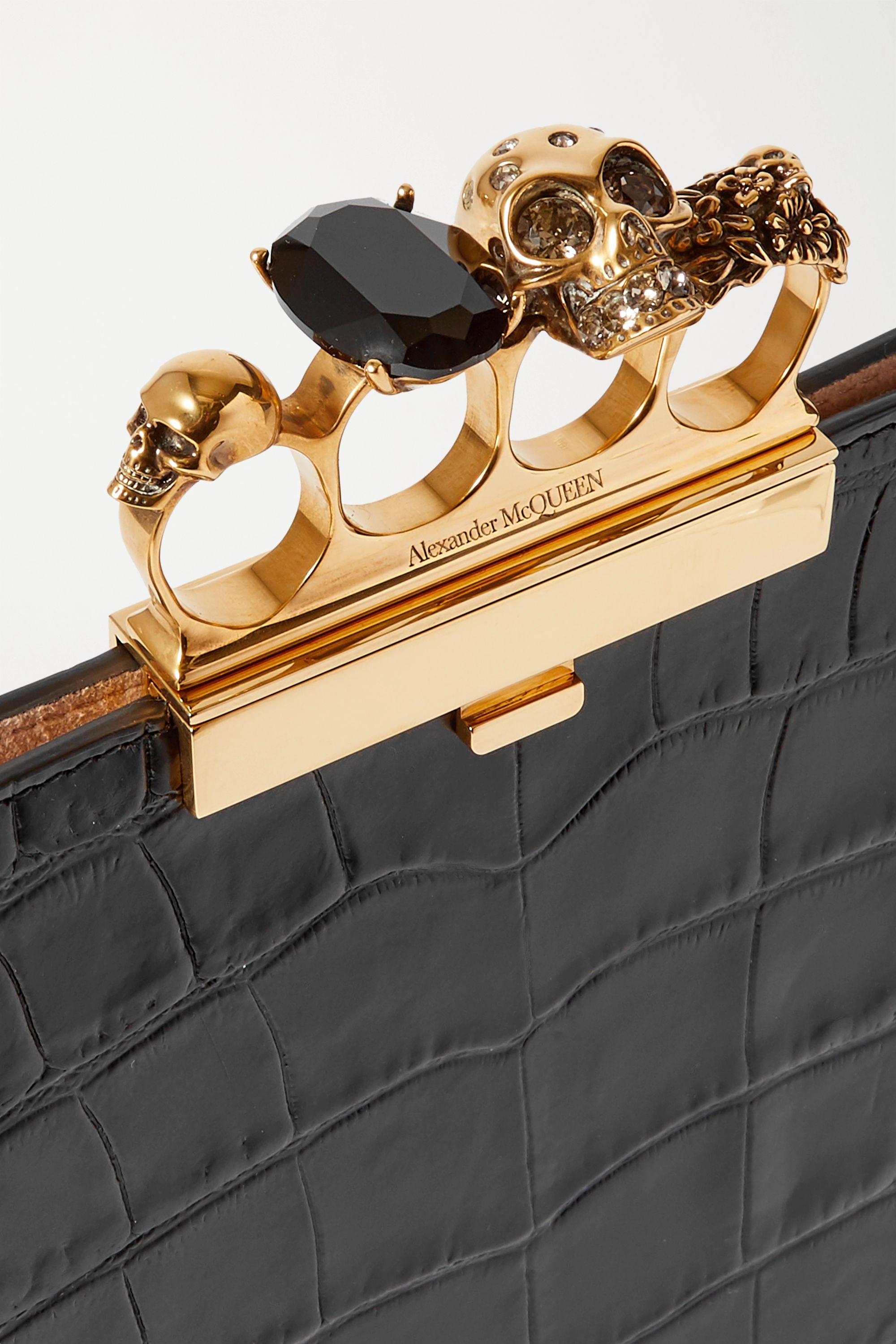 Alexander McQueen Four Ring embellished croc-effect leather clutch
