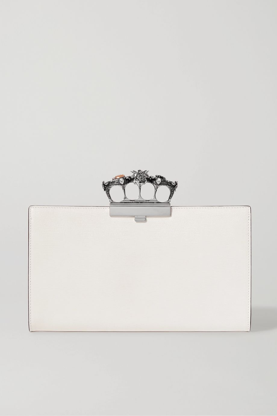 Alexander McQueen Knuckle embellished textured-leather clutch