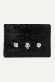 Embellished lizard-effect leather cardholder