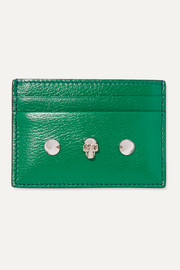 Embellished glossed textured-leather cardholder