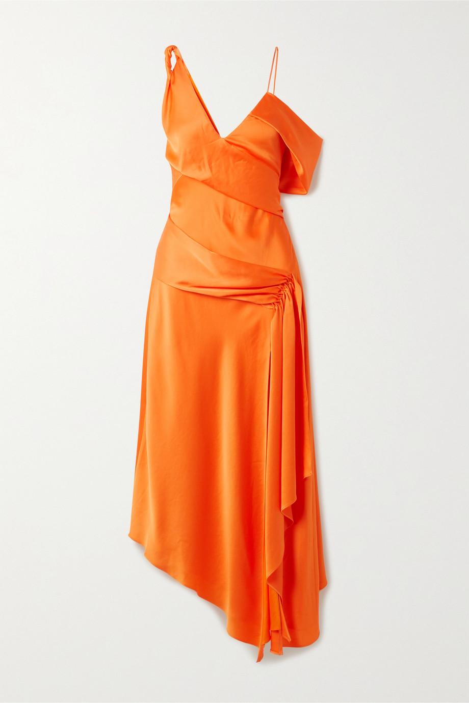 Jonathan Simkhai Asymmetric draped satin-crepe dress
