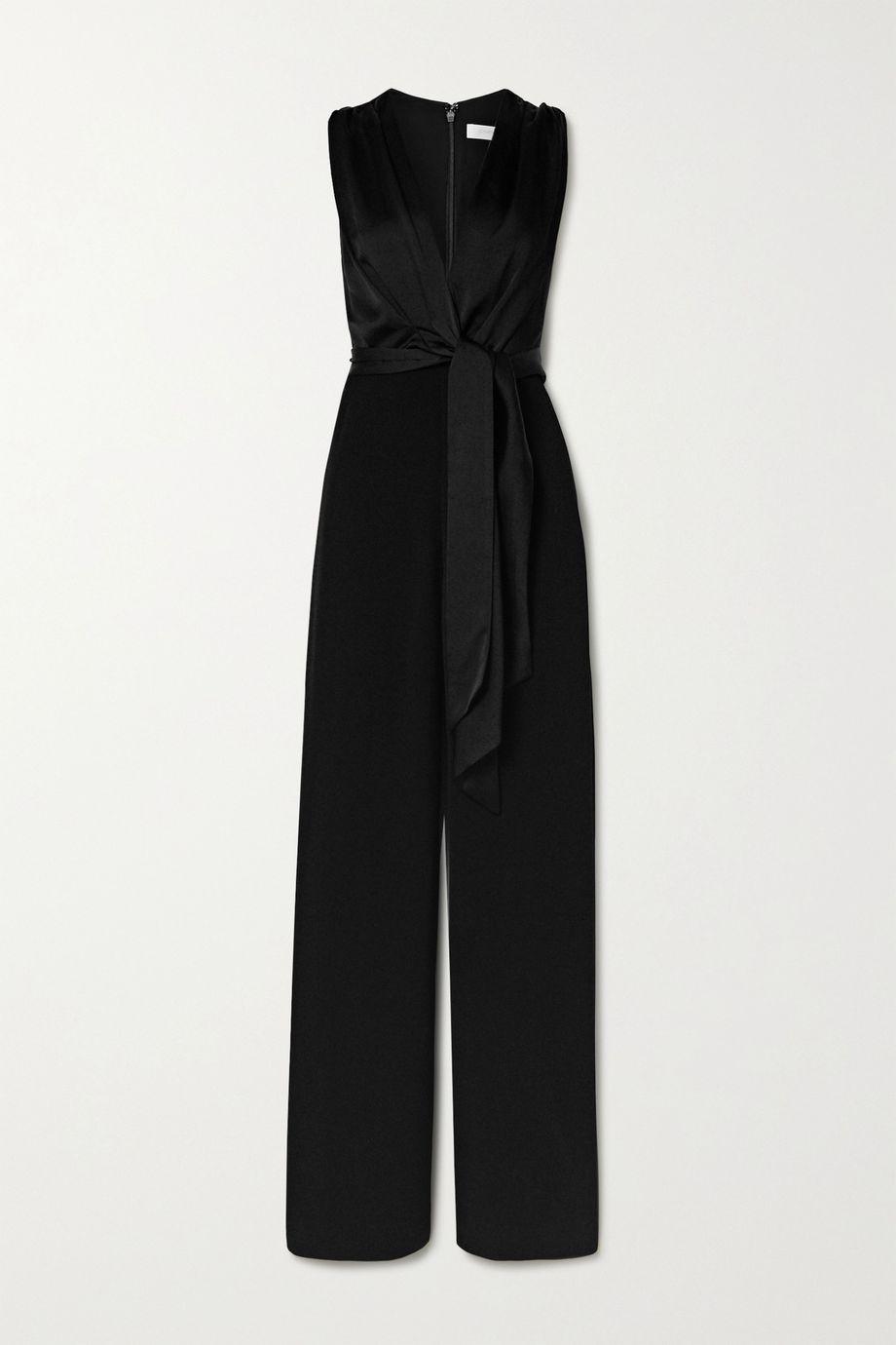 Jonathan Simkhai Tie-front draped cady and satin jumpsuit