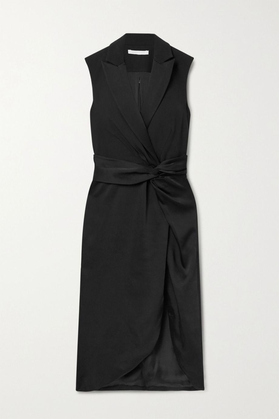 Jonathan Simkhai Twist-front paneled satin and twill midi dress
