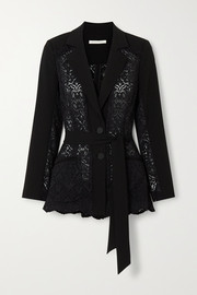 Jonathan Simkhai Lace and grain de poudre blazer