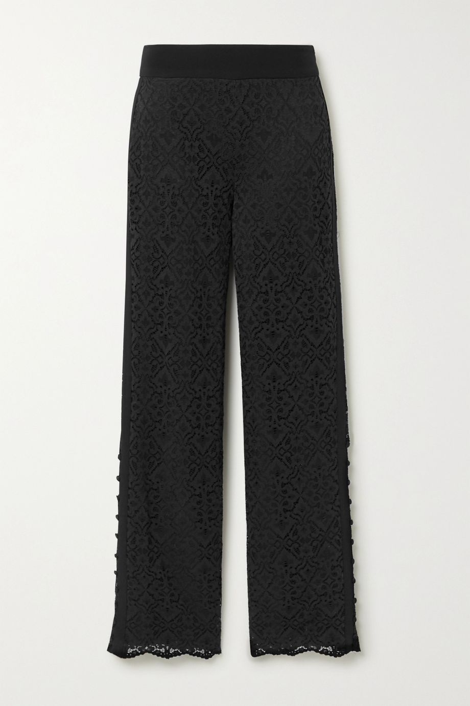 Jonathan Simkhai Crepe-trimmed corded lace straight-leg pants