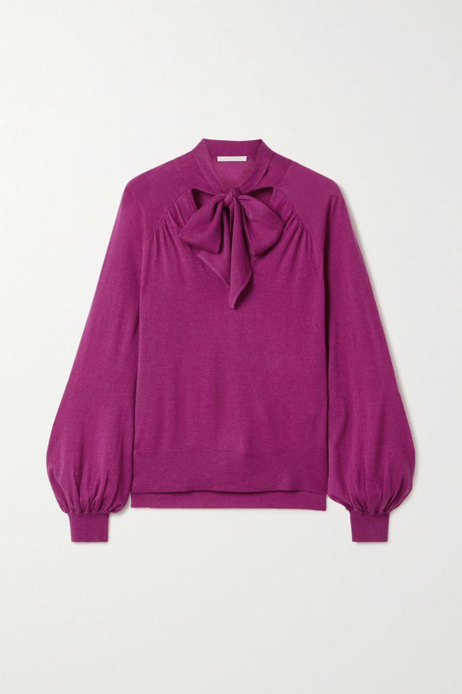 Jonathan Simkhai Pussy-bow cashmere sweater