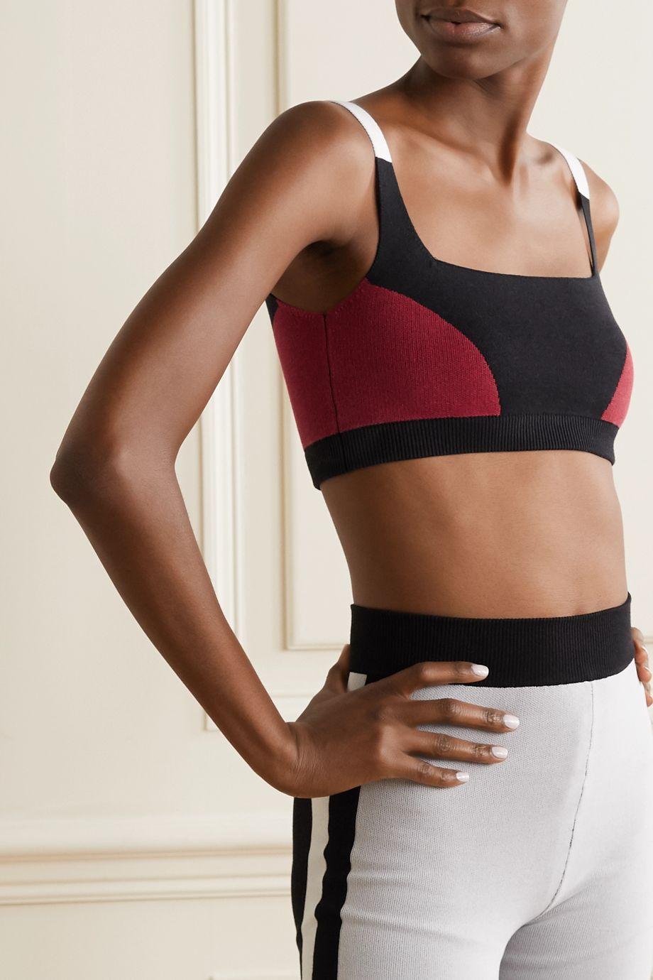 Nagnata + NET SUSTAIN color-block technical-knit stretch-organic cotton sports bra
