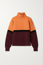 + NET SUSTAIN color-block ribbed organic cotton turtleneck sweater