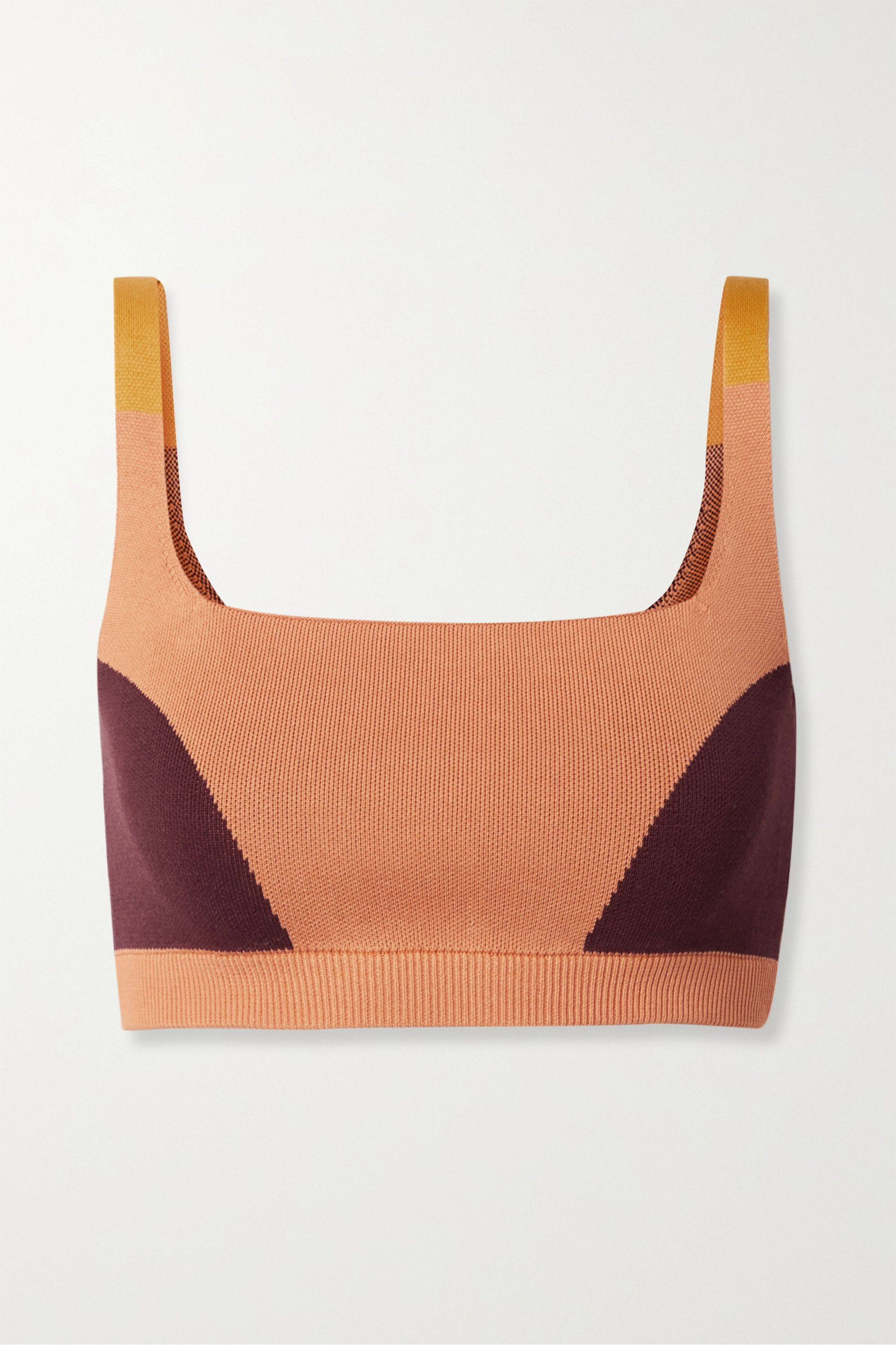 Nagnata + NET SUSTAIN color-block technical-knit stretch-organic cotton sports bra