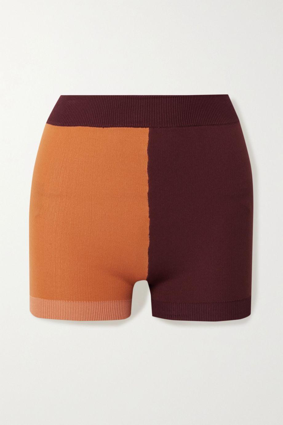 Nagnata Yoni technical-knit organic cotton-blend shorts