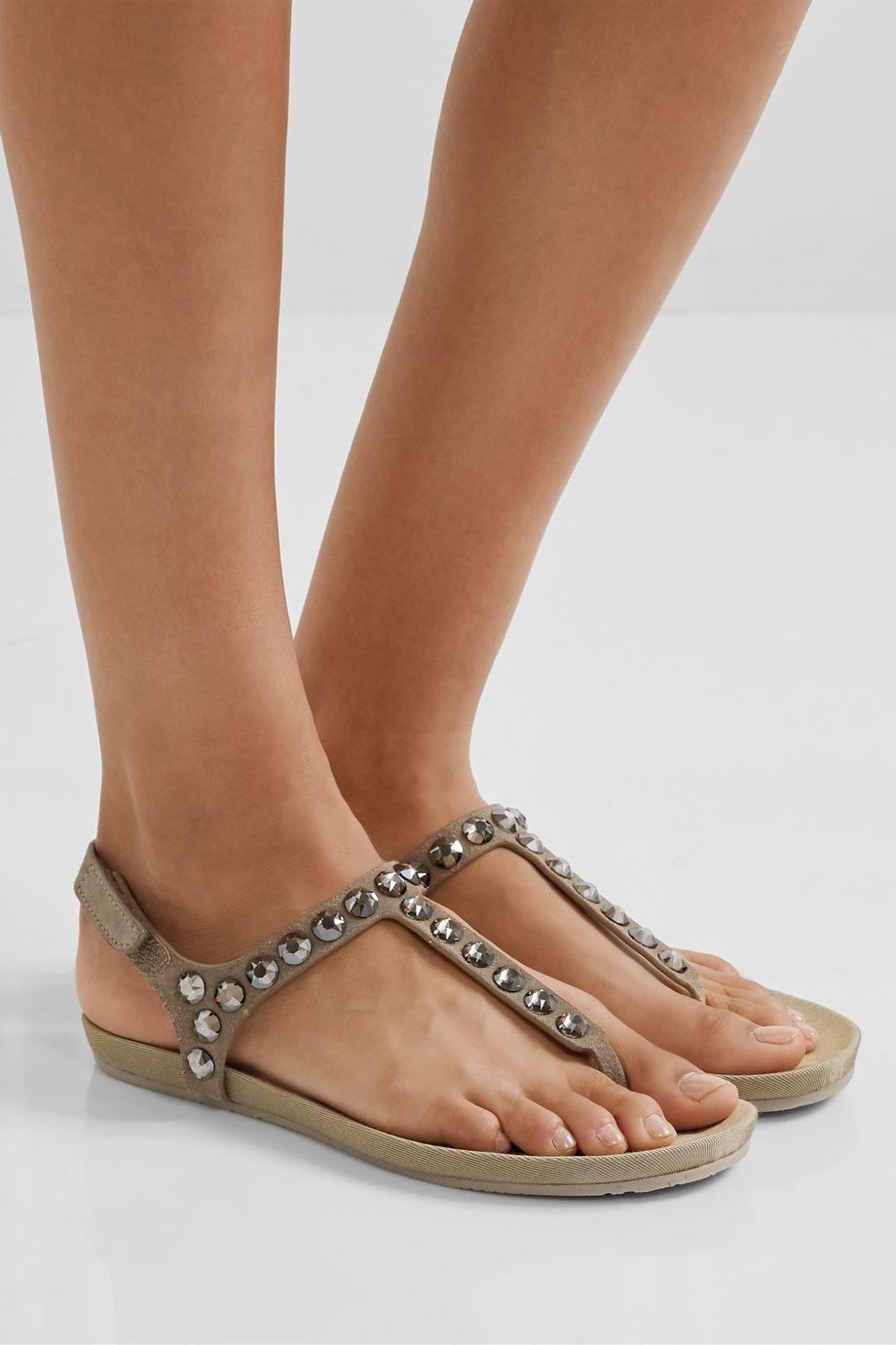 Pedro Garcia Judith crystal-embellished suede slingback sandals