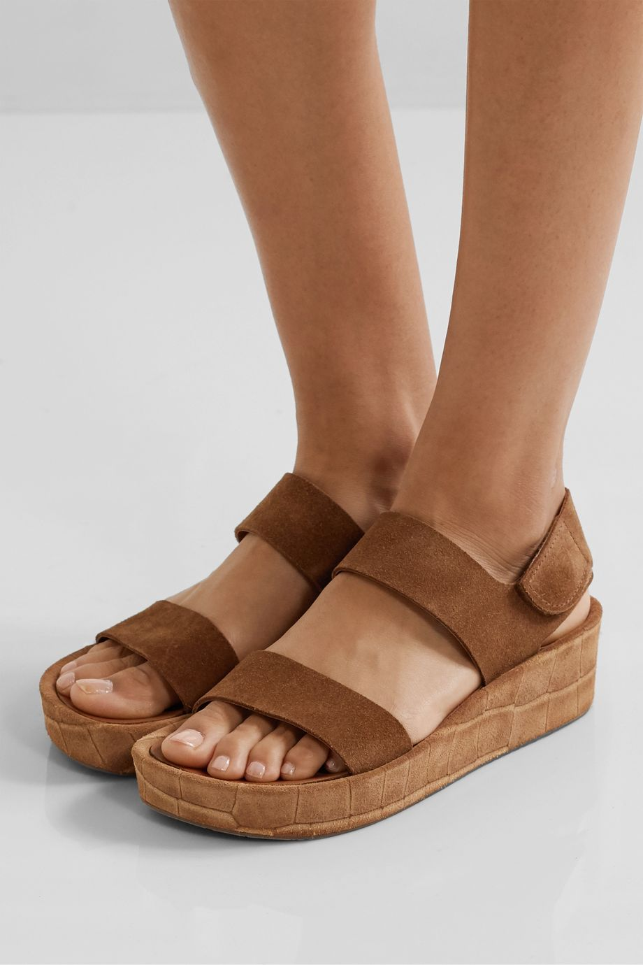 Pedro Garcia Lacey croc-effect and matte suede wedge sandals