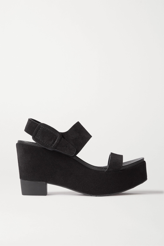 all black platform wedges