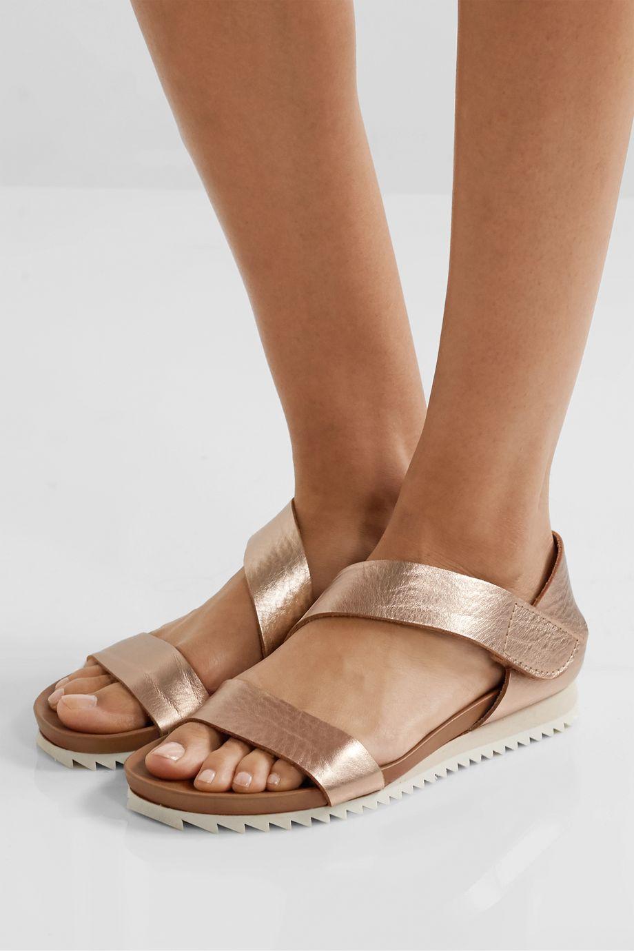 Pedro Garcia Jedda metallic textured-leather sandals