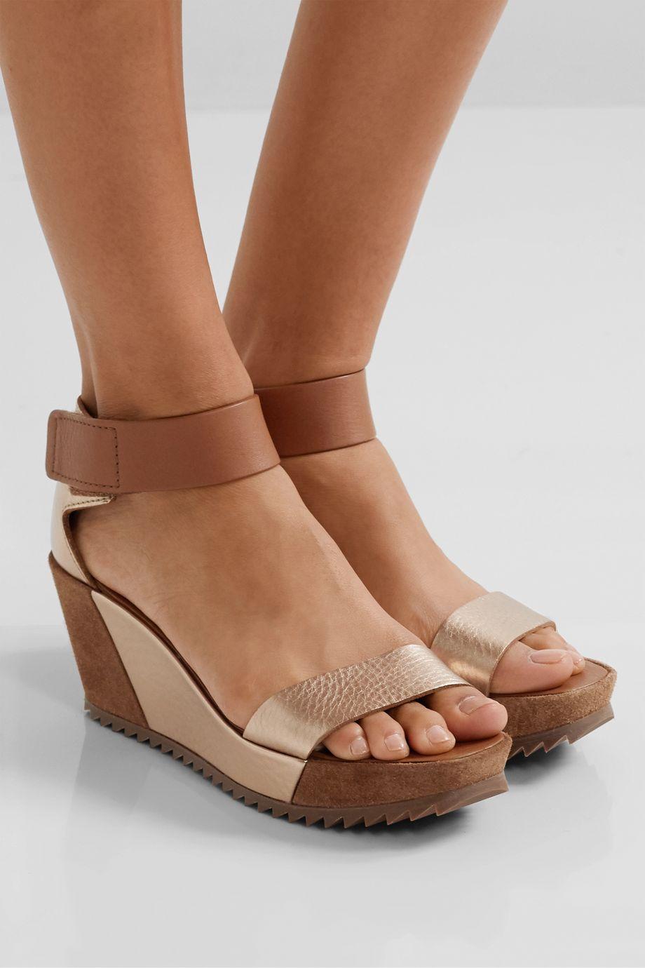 Pedro Garcia Fidelia metallic textured-leather and suede wedge sandals