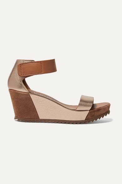 Pedro Garcia Sandals Fidelia metallic textured-leather and suede wedge sandals