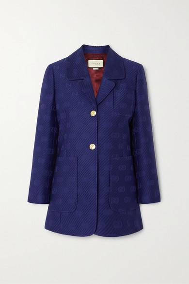 Appliquéd Wool And Silk Blend Jacquard Blazer by Gucci