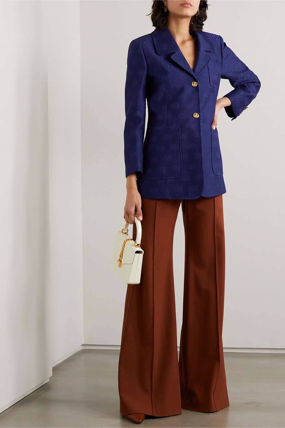 Gucci Appliquéd wool and silk-blend jacquard blazer