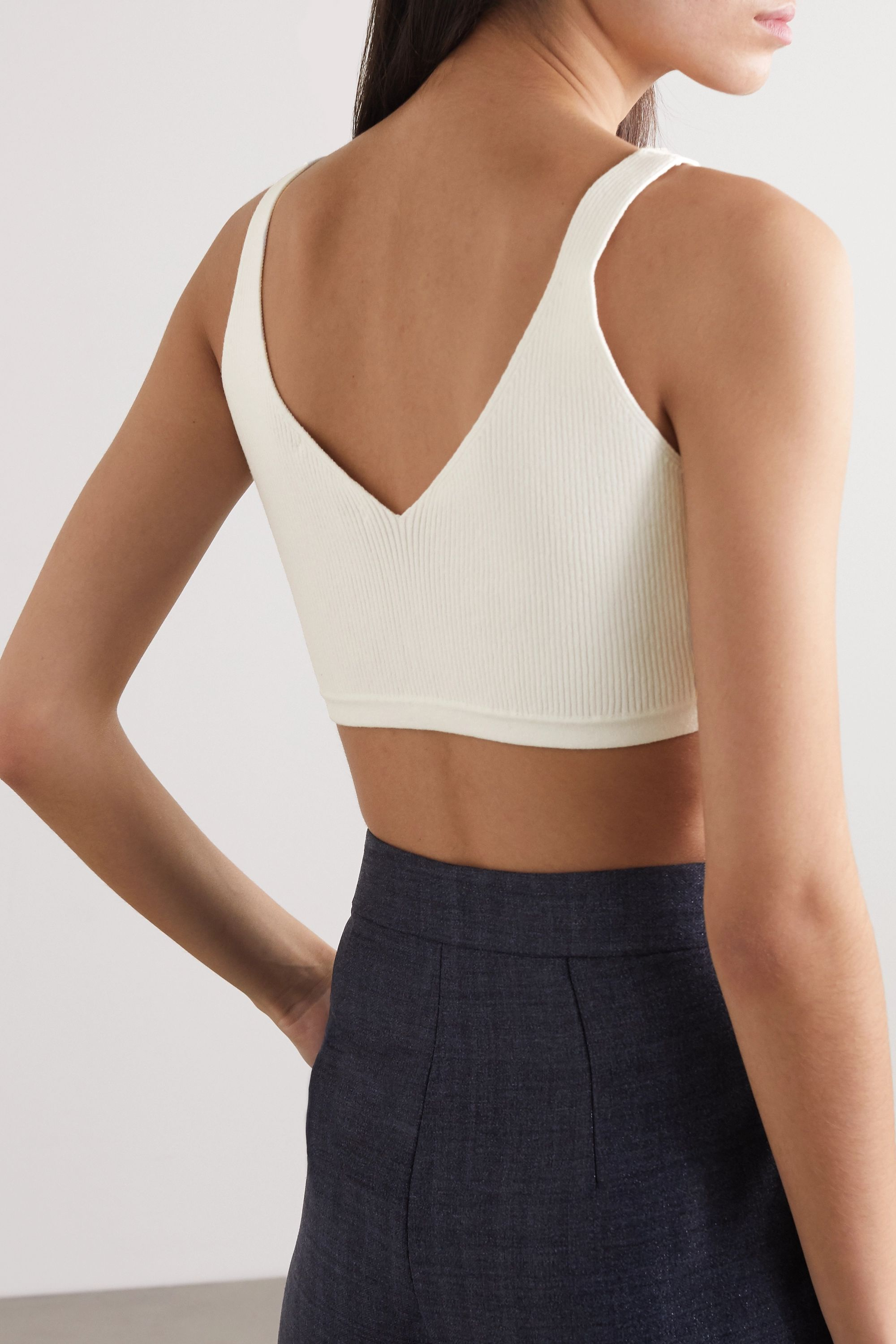 Georgia Alice Cropped ribbed cotton-blend top