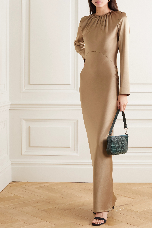 Georgia Alice Elonge gathered satin maxi dress