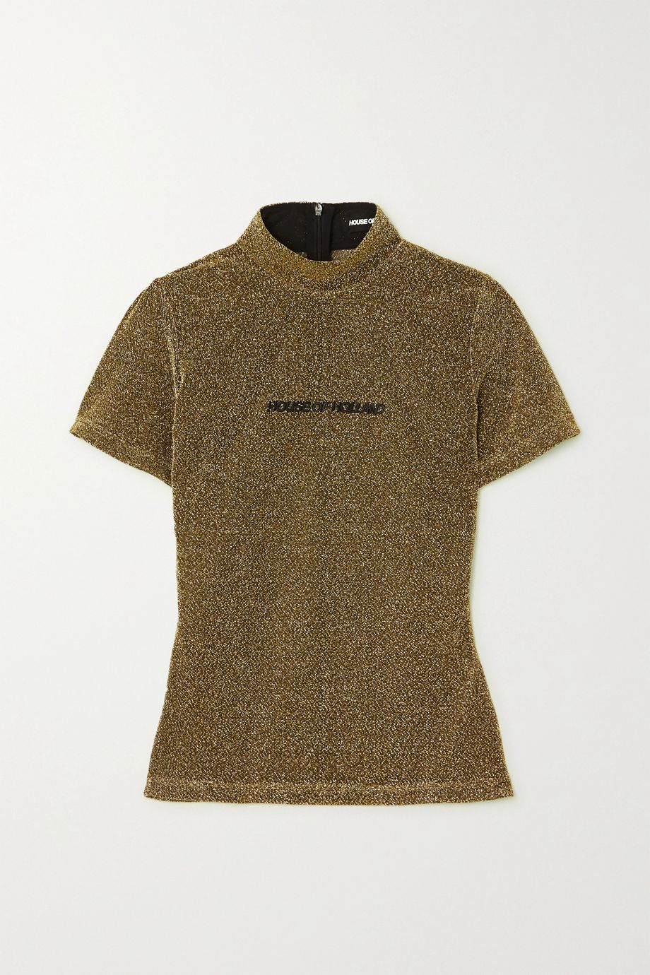 House of Holland Embroidered metallic knitted T-shirt