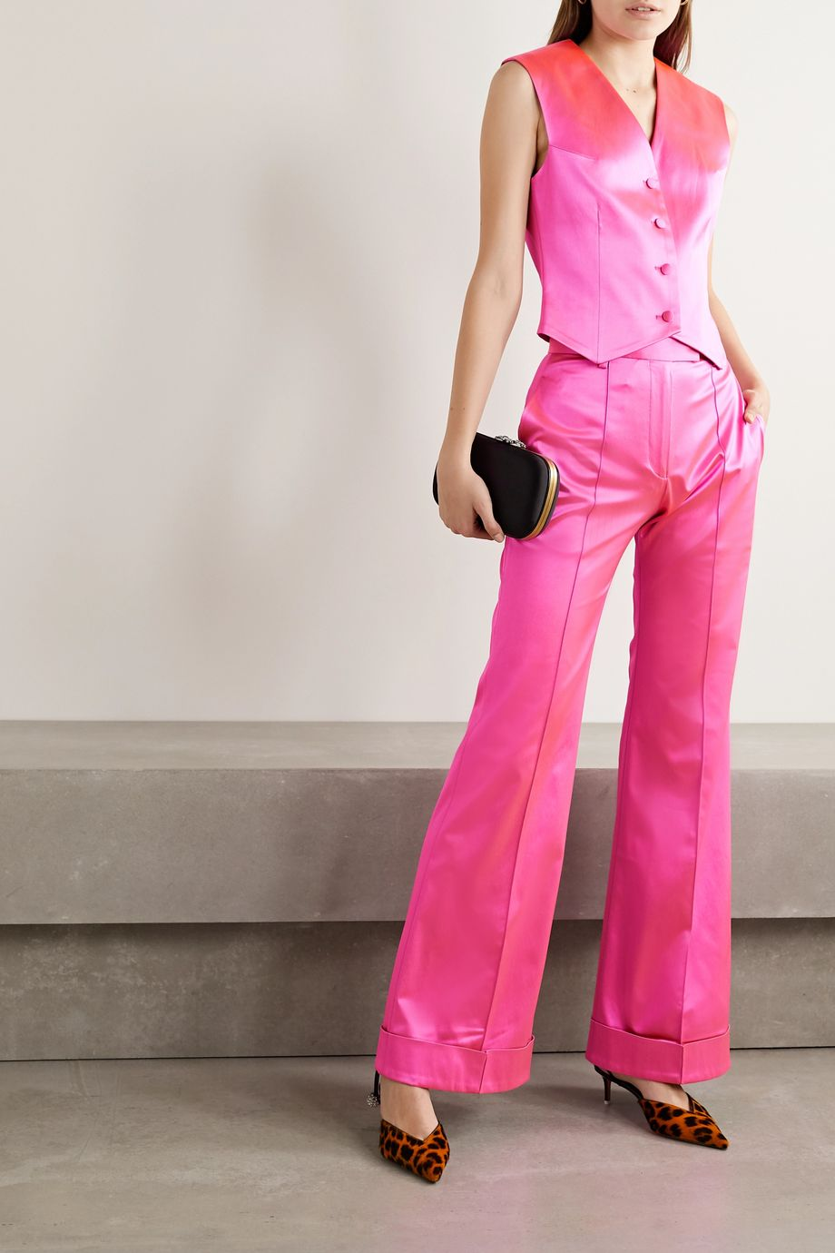 House of Holland Satin-crepe flared pants