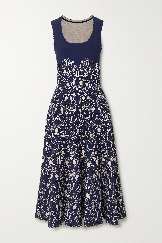 Alaïa Scalloped jacquard-knit midi dress