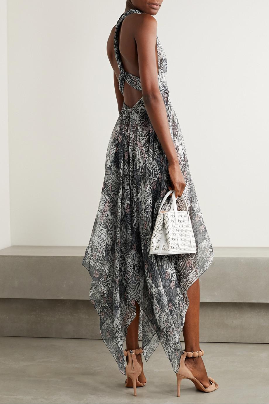 Alaïa Asymmetrisches Neckholder-Kleid aus Seidenkrepon mit Blumenprint
