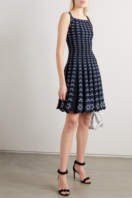 Alaïa Pleated floral-jacquard mini dress