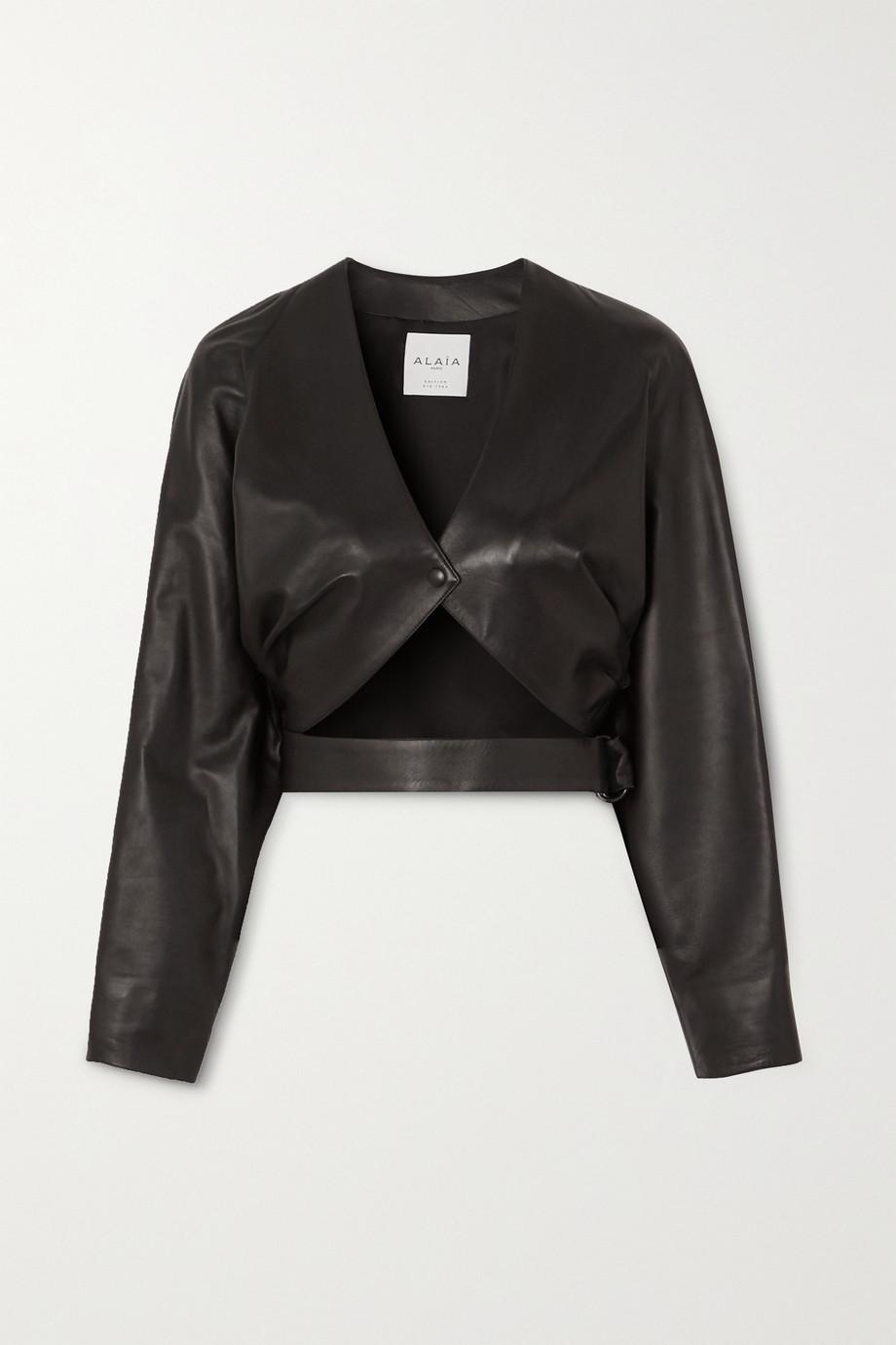 Alaïa Cropped cutout leather jacket