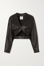 Cropped cutout leather jacket