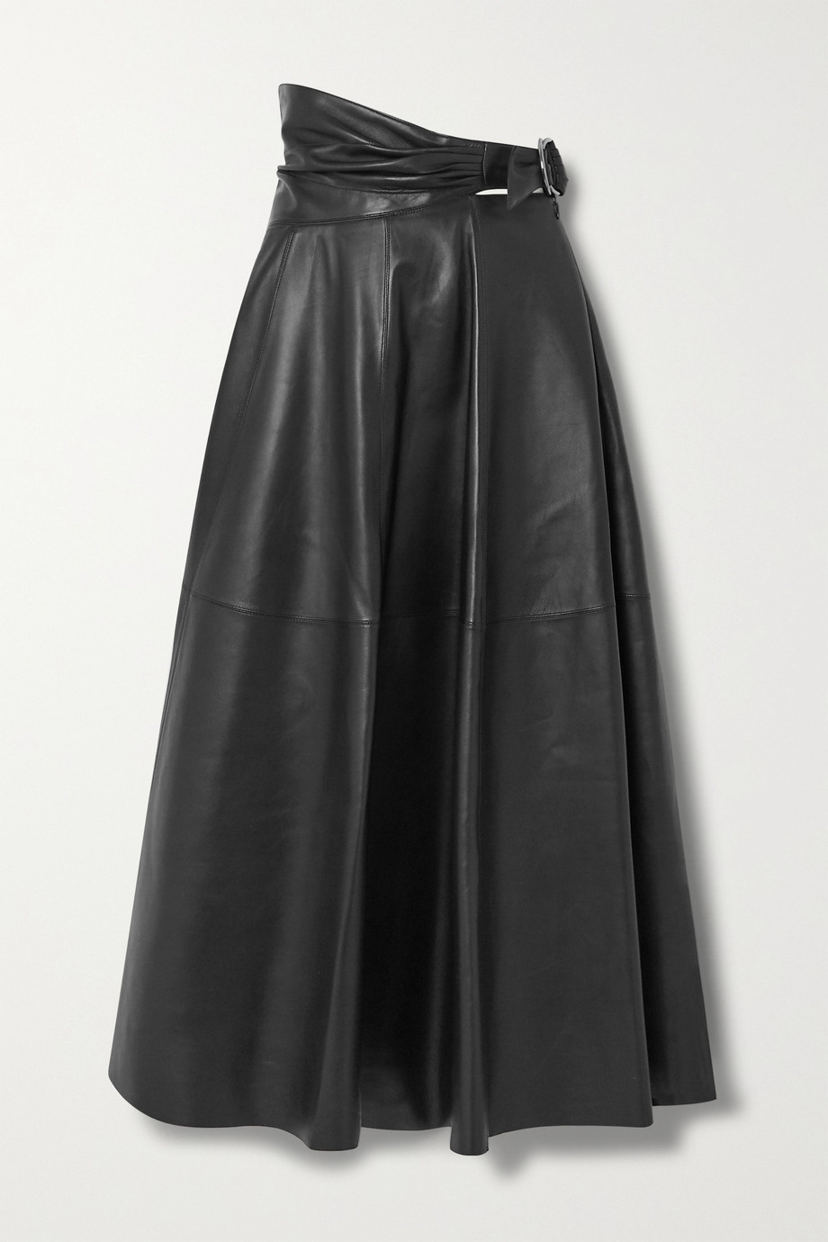 Alaïa Wrap-effect leather midi skirt