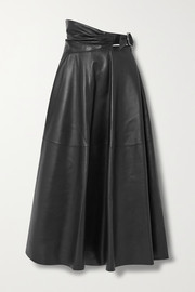Wrap-effect leather midi skirt