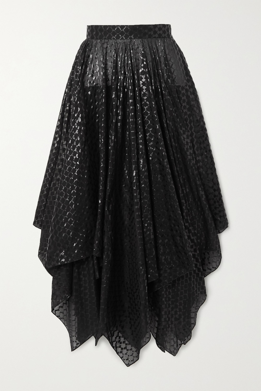Alaïa Asymmetric coated cotton-voile midi skirt