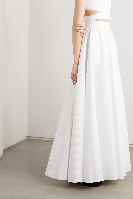 Alaïa Pleated cotton-jacquard maxi skirt
