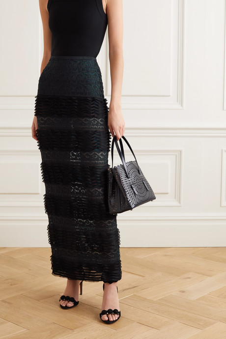 Ruffled stretch-knit and lace maxi skirt