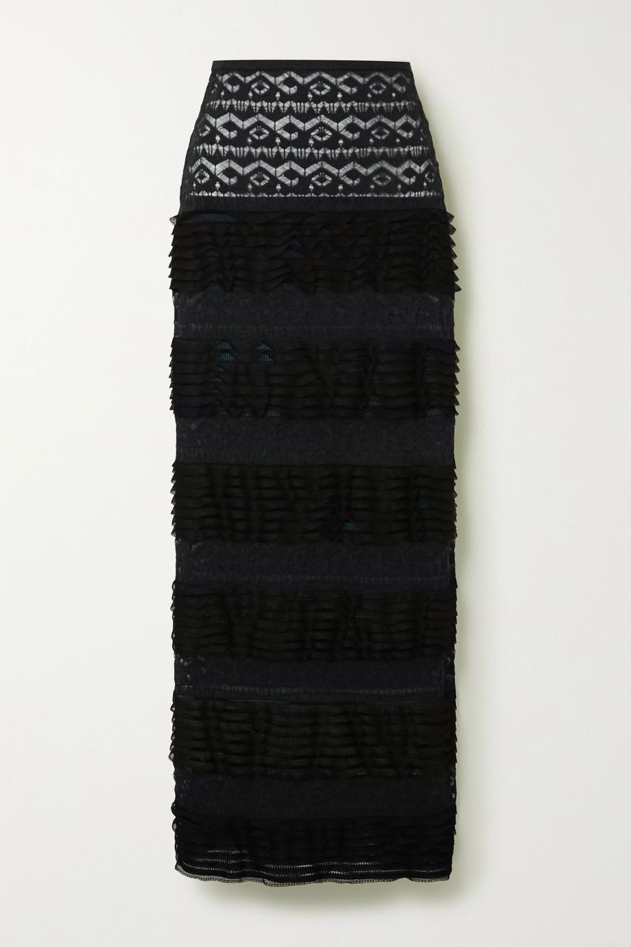 Alaïa Ruffled stretch-knit and lace maxi skirt