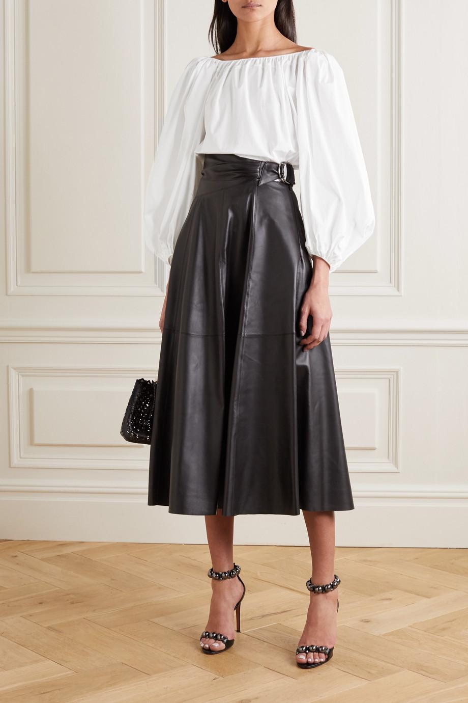 Alaïa Off-the-shoulder cotton-poplin blouse