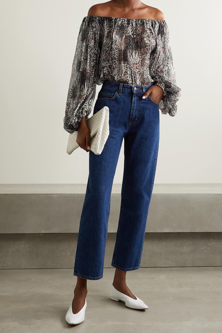 Alaïa Off-the-shoulder floral-print silk-crepon blouse