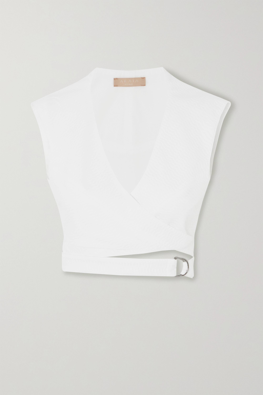 Alaïa Cropped cotton-jacquard wrap top