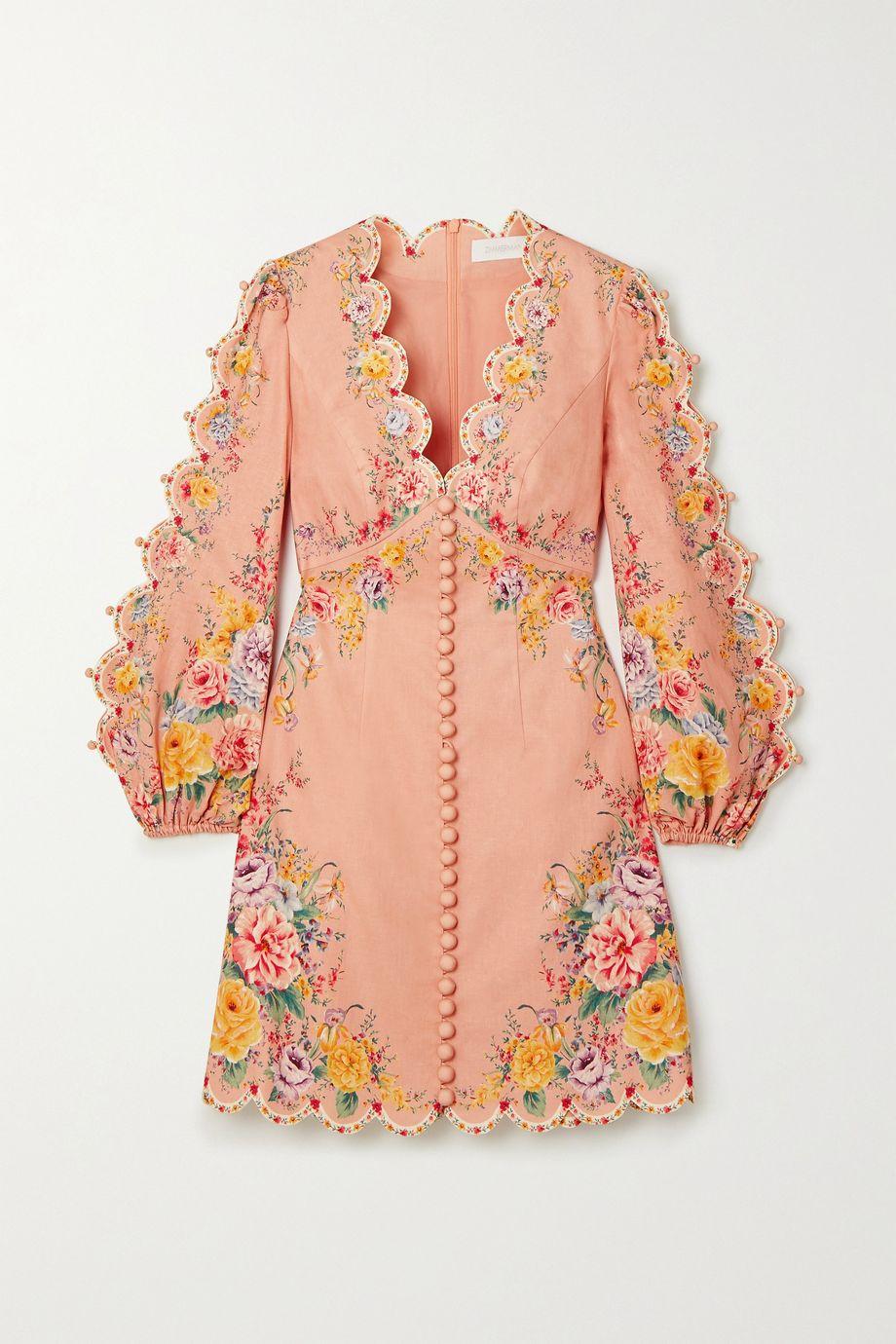 Zimmermann Mini-robe en lin et coton mélangés à imprimé fleuri Zinnia