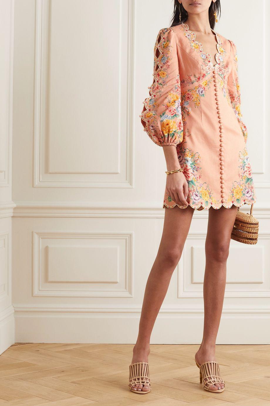 Zimmermann Zinnia floral-print linen and cotton-blend mini dress