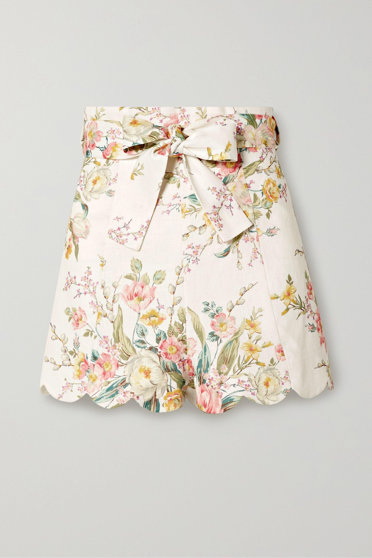Zimmermann Zinnia scalloped floral-print linen shorts