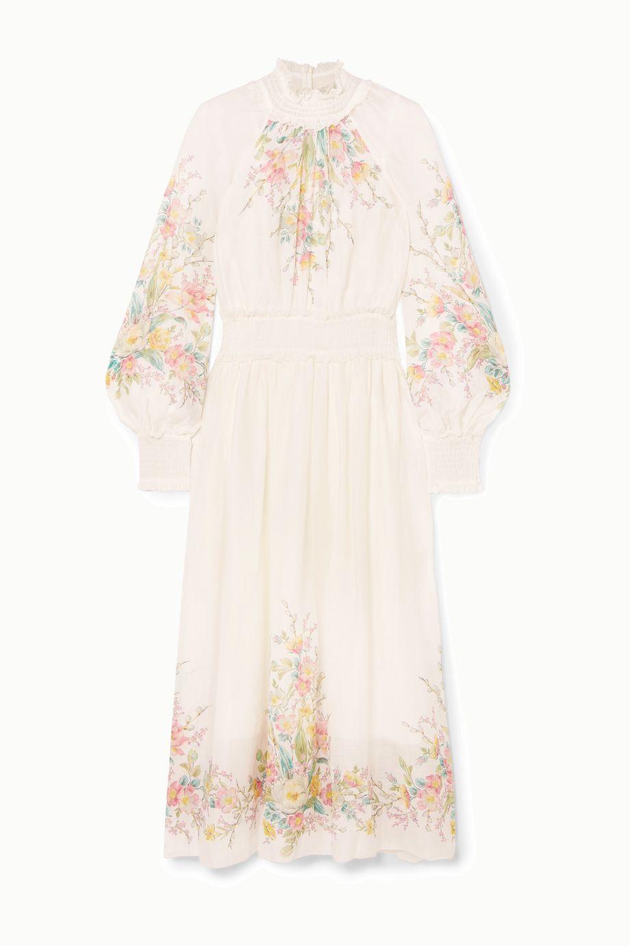 Zimmermann Robe longue en gaze de ramie à imprimé fleuri à fronces et à volants Zinnia