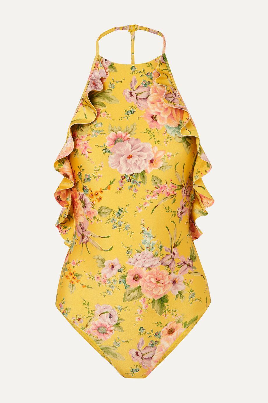 Zimmermann Zinnia ruffled floral-print swimsuit