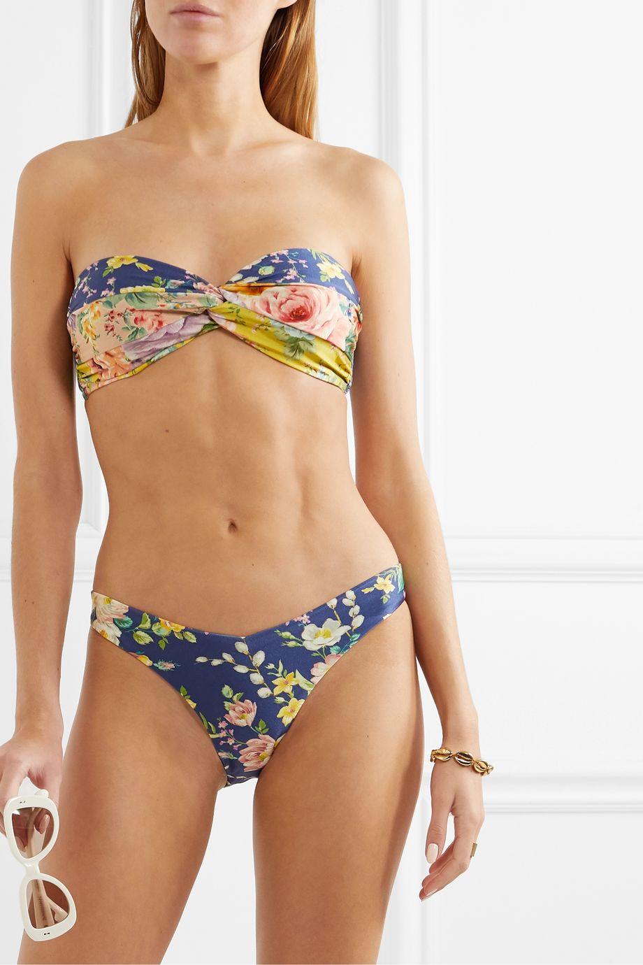 Zimmermann Zinnia knotted floral-print bikini