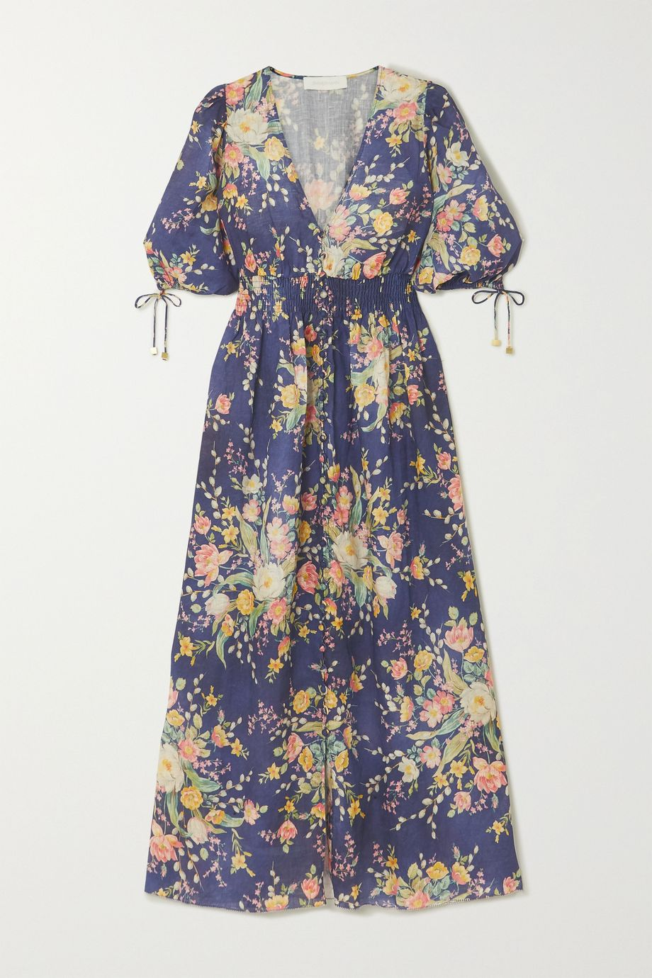 Zimmermann Robe midi en lin à imprimé fleuri et à smocks Zinnia