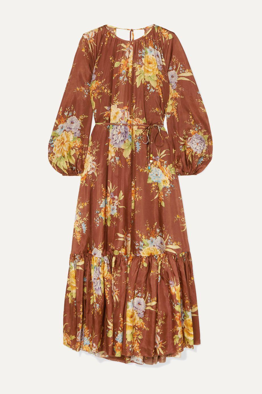 Zimmermann Zinnia tiered open-back floral-print silk midi dress